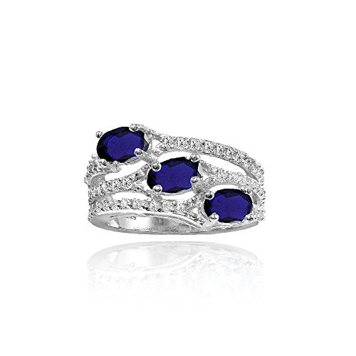 (Sterling Silver Created Blue Sapphire and White Topaz Oval Three Stone Ring, Size 7)