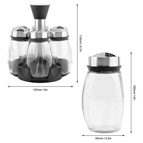 7Pcs/Set Rotating Glass Cruet Condiment Spice Jars Set Salt Pepper Shakers Seasoning Sprays Bottle Kitchen Storage Jar Rack by HSRG Storage (Image #3)