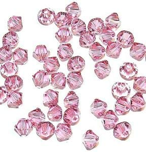 (Steven_store SCB334 Rose Dark Pink 4mm Faceted Xilion Bicone Swarovski Crystal Beads 48pc Making Beading Beaded Necklaces Yoga Bracelets)