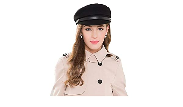 FADVES Vintage Military Hat Winter Hats Black Literary British 100/% Wool Newsboy Cap