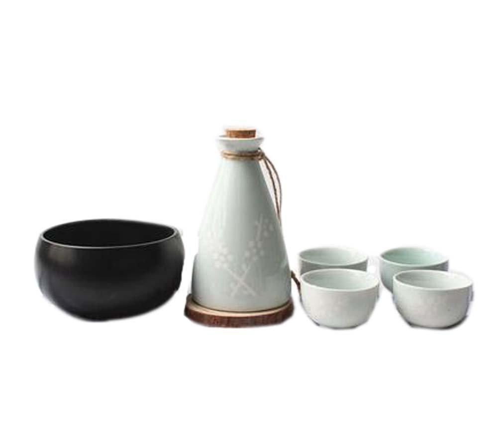 Blancho Set of 6 Japanese Style Ceramic Cup Sake Pot Winebowl Set, Light Green Blancho Bedding