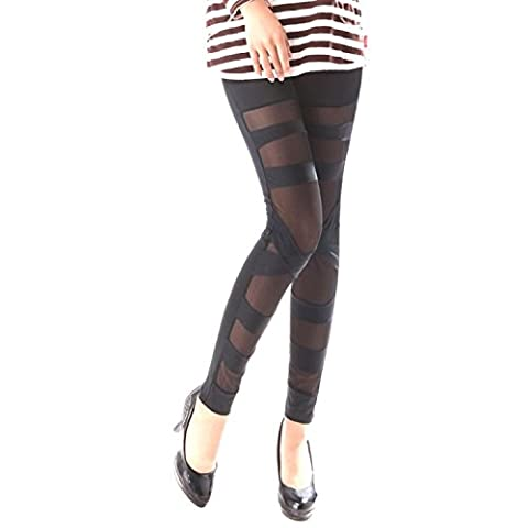 Women Girls Sexy Solid Color Bandage Mesh Leggings Yoga Pants, Black, One Size 1 Pcs(21.7