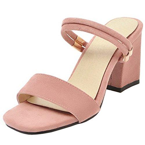 Donna Casual Sandali TAOFFEN Pink Blocco Tacco 6Uw5d6x8