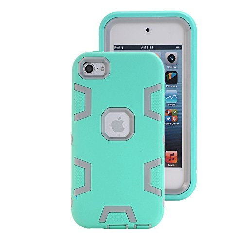 AOKER iPod Touch 6 Case, Pod Touch 5 Case, [Colorful Series] Heavy Duty High Impact Hybrid Plastic Silicone Shockproof Protective Hard Case Cover for Apple iPod touch 5 6th Generation (Mint Grey)