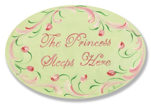 The Kids Room by Stupell The Princess Sleeps Here With Pink Tulip Border Oval Wall Plaque, 10 x 0.5 x 15, Proudly Made in USA by The Kids Room by Stupell