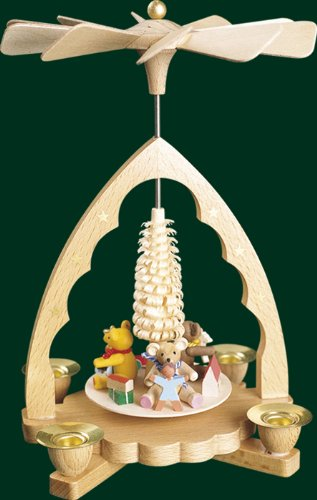 Natural Wood Christmas Pyramid Children and Bears , 7.6 Inches