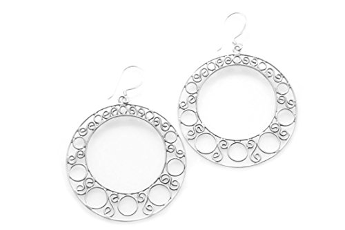 925 Sterling Silver Filigree Round Dangle Hook Earrings Handmade in Bali
