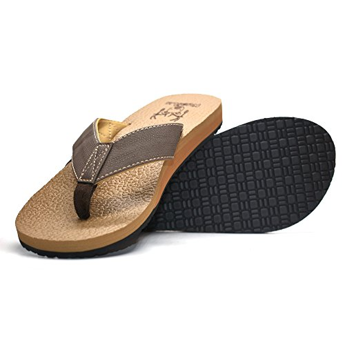 07832762ec7d KuaiLu Men s Yoga Mat Leather Flip Flops Thong Sandals with Arch Support by  KuaiLu (Image