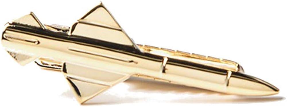 Men's Premium Outer Space Rocket Metal Tie Bar Clip