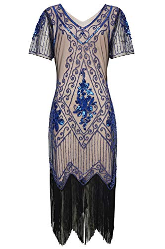 BABEYOND 1920s Art Deco Fringed Sequin Dress 20s Flapper Gatsby Costume Dress (Beige Blue, Small)]()