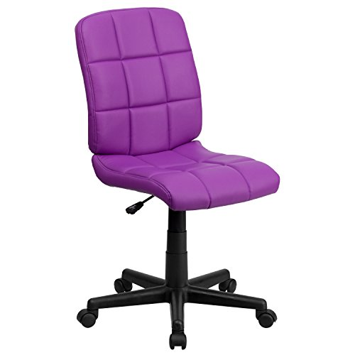 Flash Furniture Mid-Back Purple Quilted Vinyl Swivel Task ()
