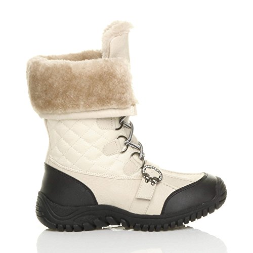 calf winter lace heel ladies Cream flat up boots Ajvani size sole winter Womens low Quilted Beige rubber fur snow fyFOSvcO
