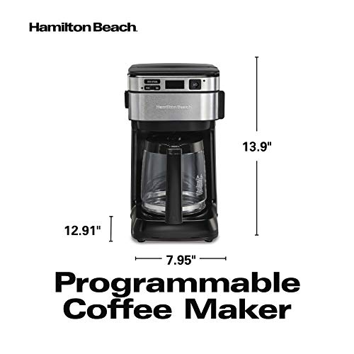 Hamilton Beach Programmable Coffee Maker, 12 Cups, Front Access Easy Fill, Pause & Serve, 3 Brewing Options, Black (46310)