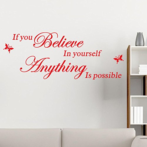 Yihaojia Wall Stickers, Removable DIV Art Decor Home Decals Wall Art For Kids Home/Living Room/Bedroom/Bathroom/Kitchen/Office If You Believe in Youself,Anything Is Possible(85cm x 33cm) (Red) (Decal Div)