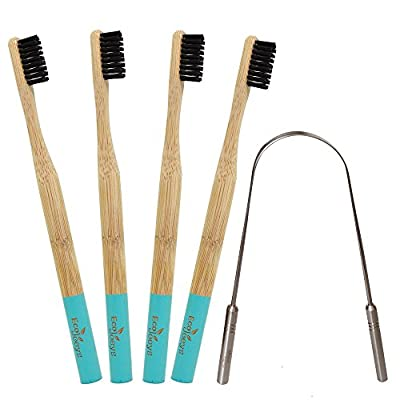 Natural Bamboo Toothbrush with Tongue Scraper | Pack of 4 Toothbrushes |Charcoal BPA Free Bristles | 100% Stainless Steel Tongue Cleaner - by Eco Joeys