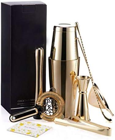 Yinaa Edelstahl Cocktail Mixer Geschenk Set Professionell und Zeitsparend Professioneller Cocktail Shaker Gold 7 Stück Set