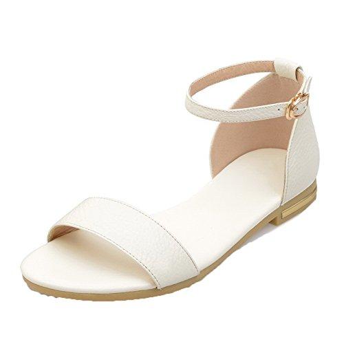 AalarDom Womens Open-Toe Low-Heels PU Solid Buckle Sandals White(1kou) e751qQo5oA