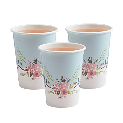 Ginger Ray Floral Fancy Design Party Paper Cups, Blue