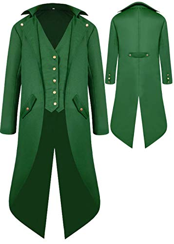 Mens Gothic Medieval Tailcoat Jacket, Steampunk Vintage Victorian Frock High Collar Coat Halloween Costumes (XXL, Green)