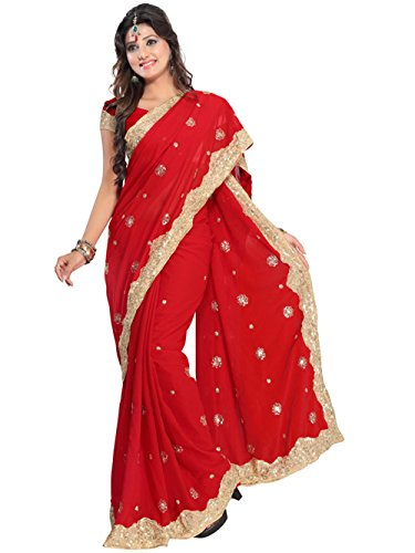 Indian Trendy Women's Bollywood Sequin Embroidered Sari Festival Saree Unstitched Blouse Piece Costume Boho Party Wear (Red)