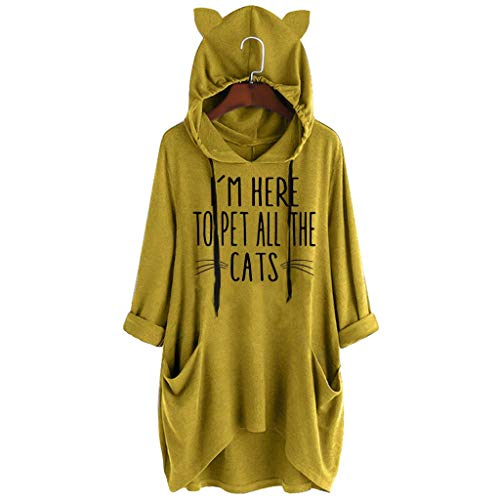 Qingell Women Fashion Sport Casual Cute Print Cat Ear Hooded Long Sleeves Pocket Irregular Loose Top Blouse Hoodies Pullover