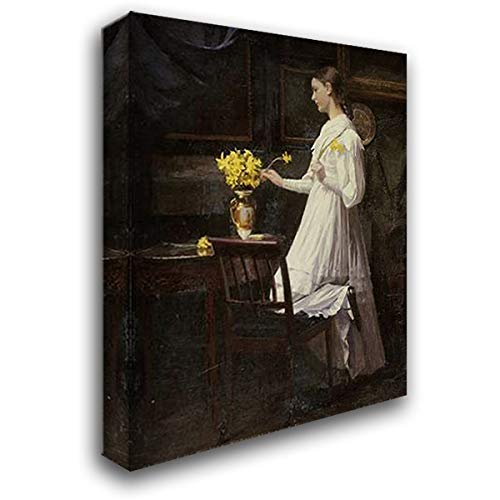 Arranging Daffodils - Arranging Daffodils 19x24 Gallery Wrapped Stretched Canvas Art by Thomsen, Carl