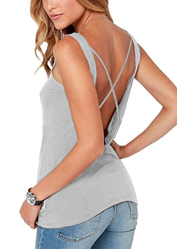 Yucharmyi Women's Sleeveless Backless Drape Cut Out Back Plain Loose T-Shirt Super Soft Knit Open Back Yoga Tank Top Workout Yoga Sports Bra Top Summer Racerback Tank Top (Gray, L) (Top Tunic Racerback Drape)