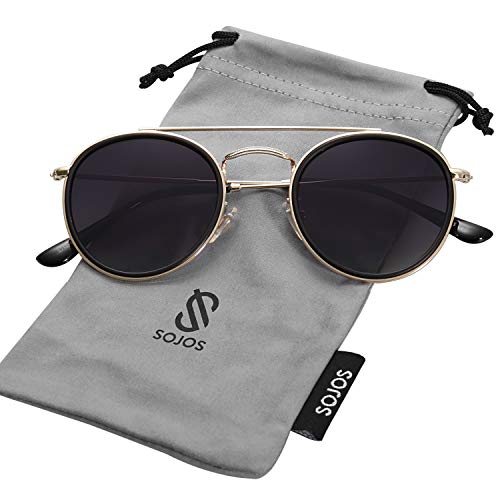 3dc4d1b0548afd SOJOS Small Round Polarized Sunglasses Double Bridge Frame Mirrored Lens  SUNSET SJ1104 with Gold&Matte Black Frame