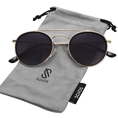 SOJOS Small Round Polarized Sunglasses Double Bridge Frame Mirrored Lens SUNSET SJ1104 with Gold&Matte Black Frame/Gradient Grey Polarized Lens