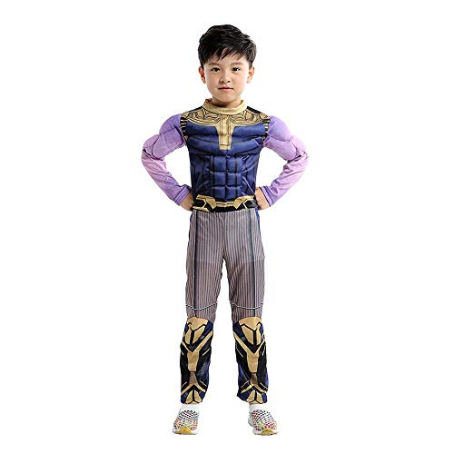 Namcha Deluxe 3D Thanos Costume Avengers Infinity War Endgame Superhero Cosplay Full Set Outfit Jumpsuit for Halloween Christmas Carnival Party Daily Kid Cosplay Game, S Purple]()
