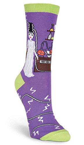 Elvira Costume Shoes - K. Bell Women's Novelty Halloween Crew, Purple Halloween Bride, 9-11