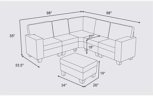 BOWERY HILL Gray Linen 6Pc Modular Sectional Sofa and Ottoman