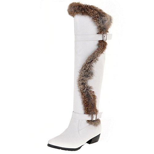 COOLCEPT Damen Winter Warm Flache Lange Stiefel Warm Schneestiefel Mit Wolle Weiß