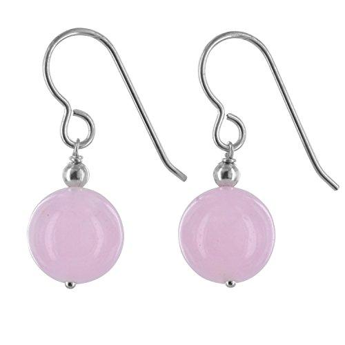 Pink Earrings Jade (Rose Jade Natural Gemstone Sterling Silver Handmade Earrings by ASHANTI)