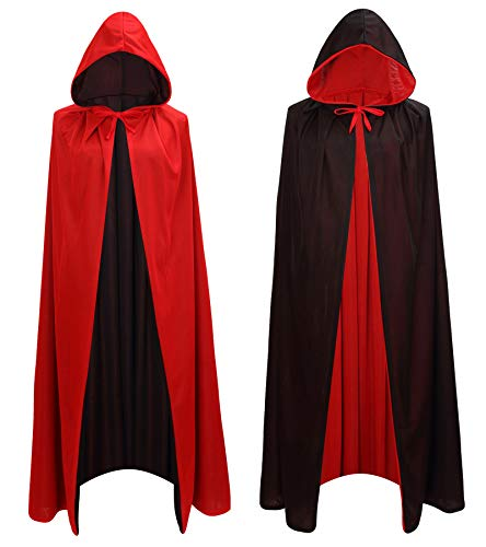 Makroyl Black Red Reversible Goth Pirate Vampire Witch Cloak Unisex Christmas Halloween Cosplay Capes (Medium, Red/Black)