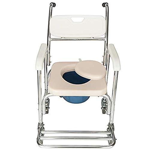 - BULLKEYS Portable 4 in 1 Multifunctional Professional Commode Chair for Toilet with Padded Seat,Removable Bath Chair with Wheel,Heavy Duty 300 LBS,Designed for Elder Disabled People Pregnant Women