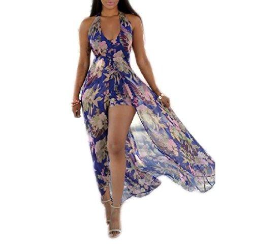 Coolred-femmes Manches Col V Licol Boho Haute Robe De Plage Imprimé Fleur Mauve Taille