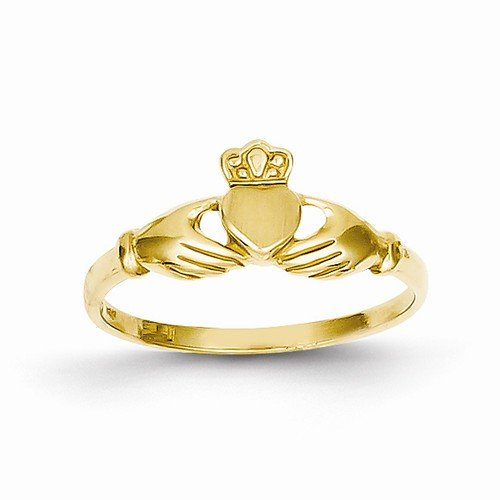 Size - 7.25 - Solid 14k Yellow Gold Polished & Satin Claddagh Ring (4 to 17 mm)