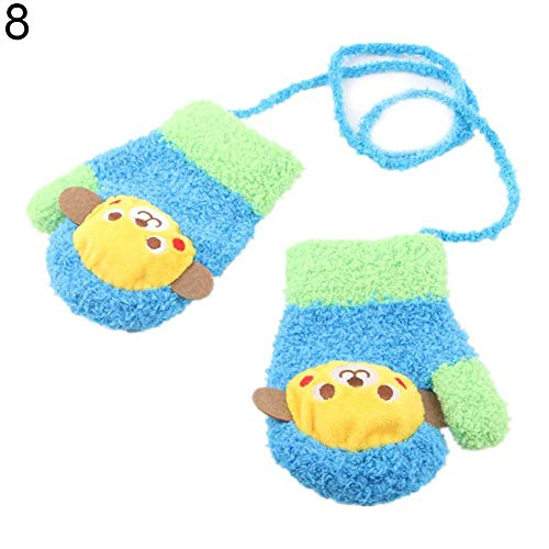 WillowswayW 1 Pair Cute Cartoon Animal Car Coral Velvet Soft Gloves Winter Kids Mittens