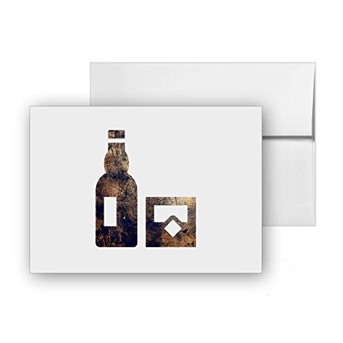 Whiskey Alcohol Drinking Drink Cocktail, Blank Card Invitation Pack, 15 cards at 4x6, with White Envelopes, Item - Cocktails Personalized Invitations