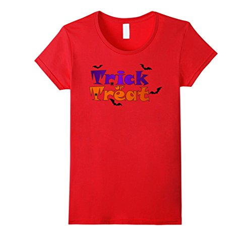 Womens Trick or Treat- Halloween T-shirt Medium Red