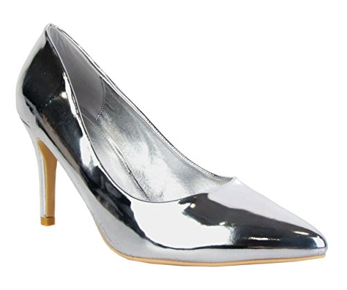SHU CRAZY Womens Ladies Faux Patent Leather Pointy High Stiletto Heel Party Evening Dressy Pumps Court Shoes - L95 Silver Qp1cz1
