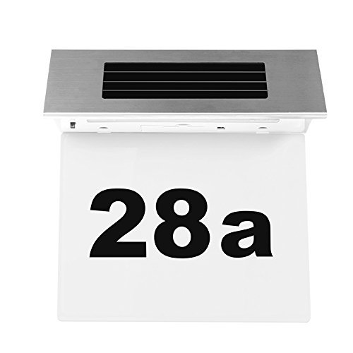 Solar Powered Number Light ONEVER Doorplate 4 Leds House Address Number Stainless Steel Doorplate Light Outdoor Wall Plaque Light