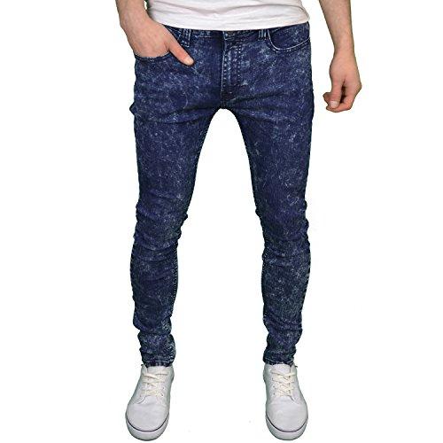 Soulstar Mens Boys Designer Skinny Stretch Marble Wash Jeans, BNWT (38W x 32L, Dark Marble)