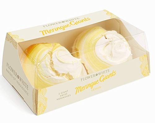 Flower & White - Lemon 2 Giant Swiss Meringues 140g x 2 Expires Dec 2019 Delivers 3-5 Days USA by Flower & White