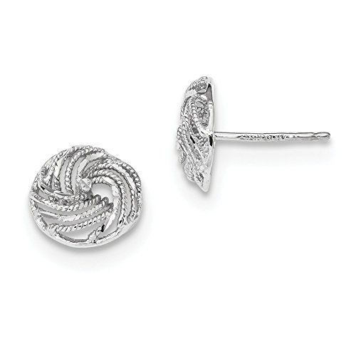 14k White Gold Love Knot Post Stud Earrings Ball Button Fine Jewelry Gifts For Women For Her Crystal Gold Button Earrings