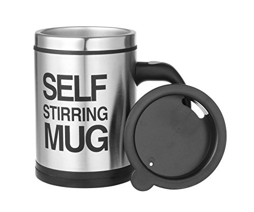 Self Stirring Coffee Mug Set of 2 (Black/Silver) - 2