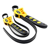 Toolwiz 2Pcs Oil Filter Strap Rubber Wrench Jar Opener Pipe Wrench Set