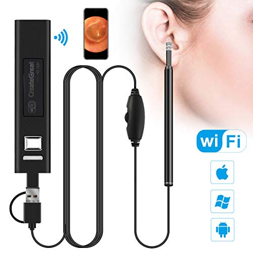 (Wireless Ear Cleaning Endoscope, 1.3MP HD WiFi Ear Scope Inspection Waterproof Ear Camera, Ear Otoscope Ear Wax Remover Tool with 6 LED Lights for iPhone iPad iOS Android Cell Phone Tablet PC)
