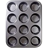 12 Cups Muffin and Cupcake Pan, Nonstick Cupcake baking Pan Carbon Steel bakeware Pan-Gray